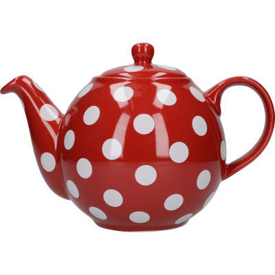 London Pottery Globe 4-Cup Teapot Red White Spot