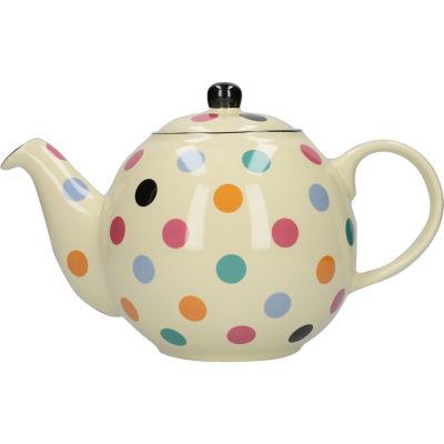 London Pottery Globe 6-Cup Teapot  Ivory Multi Spot