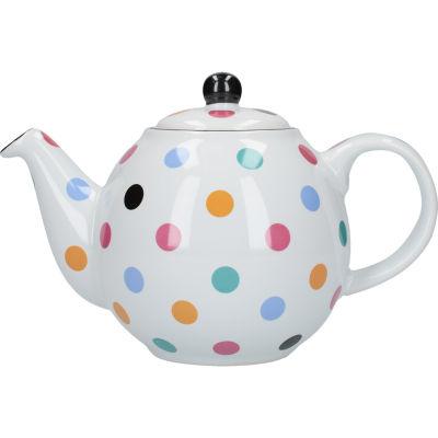 London Pottery Globe 6-Cup Teapot  White Multi Spot