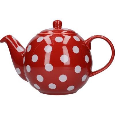 London Pottery Globe 6-Cup Teapot Red White Spot
