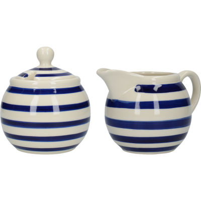 London Pottery Out Of The Blue Cream Jug & Sugar Basin Set Of 2 Blue Band
