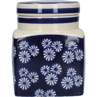London Pottery Out Of The Blue Storage Jar Daisies