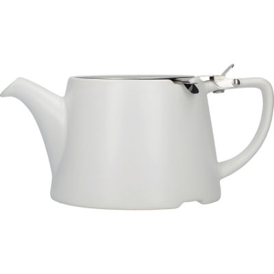 London Pottery Oval Filter 3-Cup Oval Filter Teapot Satin White
