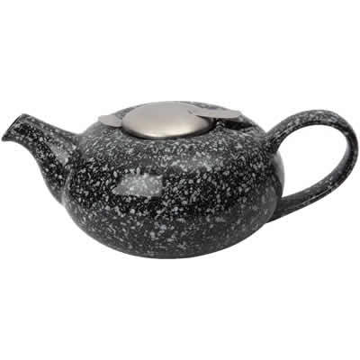 London Pottery Pebble Teapots 4-Cup Teapot Gloss Flecked Black