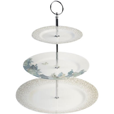 Nina Campbell Fairfield Blue 3-Tier Cake Stand