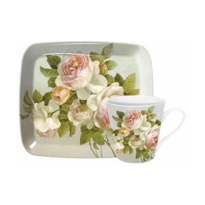 Pimpernel Fruits and Floral Antique Rose Mug Pair & Tray Set