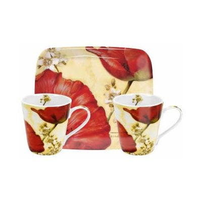 Pimpernel Fruits and Floral Poppy De Villeneuve Mug Pair & Tray Set