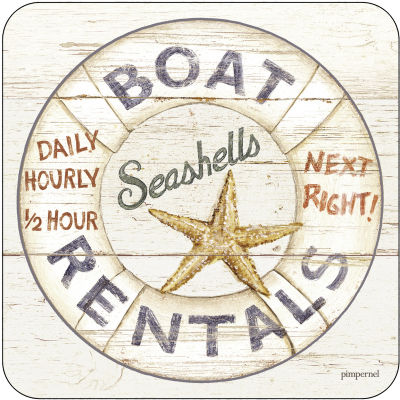 Pimpernel Scenic and Decorative Coastal Signs Coasters Set of 6