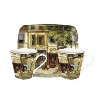 Pimpernel Scenic and Decorative Parisian Scenes Mug Pair & Tray Set
