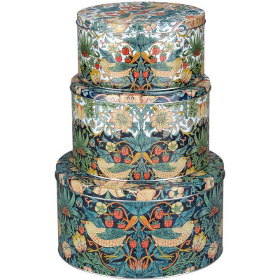 Pimpernel William Morris Strawberry Thief Coloured Cake Tin Set of 3