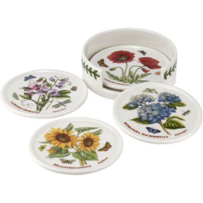 Portmeirion Botanic Garden Ceramic Coaster Set of 4 and Holder