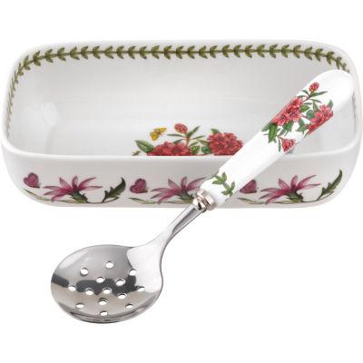 Portmeirion Botanic Garden Cranberry Dish & Slotted Spoon