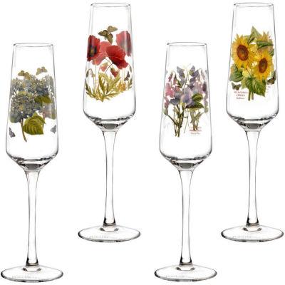 Portmeirion Botanic Garden Flute Glass Painted Set of 4
