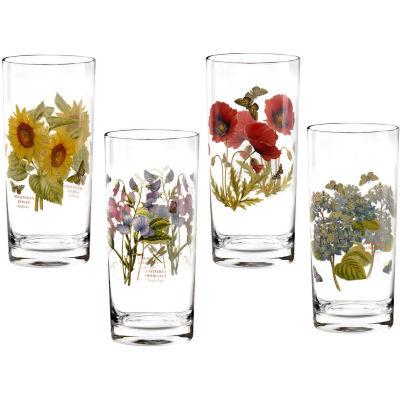 Portmeirion Botanic Garden Hiball Glass Painted Set of 4