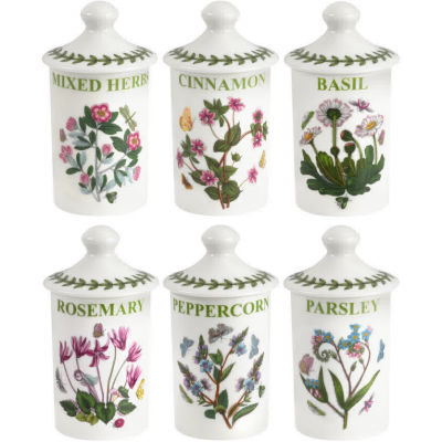 Portmeirion Botanic Garden Spice Jar Set of 6