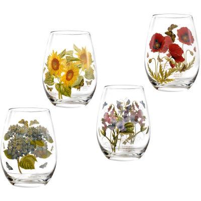 Portmeirion Botanic Garden Stemless Wine Glass Painted Set of 4