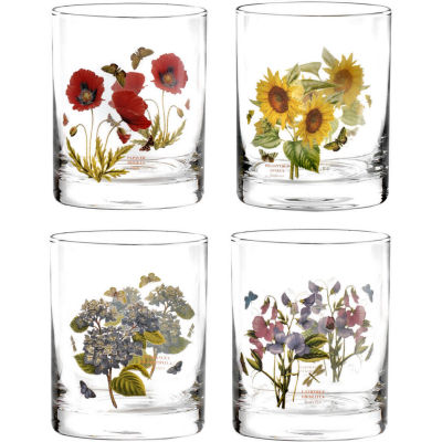 Portmeirion Botanic Garden Tumbler Glass Painted Set of 4