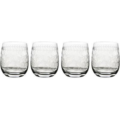 Portmeirion Botanic Garden Tumbler Glass Etched Set of 4