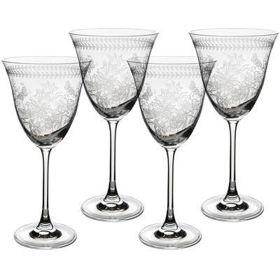 Portmeirion Botanic Garden Wine Glass Etched Set of 4
