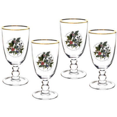 Portmeirion The Holly and The Ivy Goblet Glass Set of 4