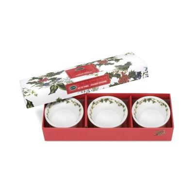 Portmeirion The Holly and The Ivy Tea Light Holder 7cm Set of 3