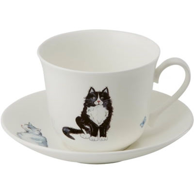 Roy Kirkham Cats & Dogs Cats Breakfast Cup & Saucer