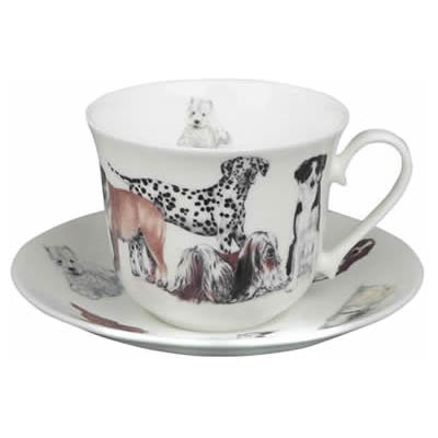 Roy Kirkham Cats & Dogs Dogs Galore Breakfast Cup & Saucer