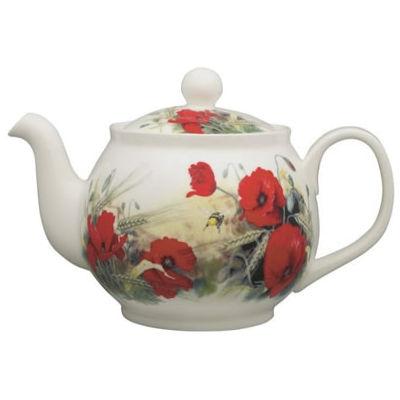 Roy Kirkham Floral Poppy Round Teapot Large