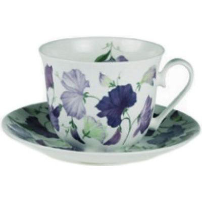 Roy Kirkham Floral Sweet Pea Lilac Breakfast Cup & Saucer