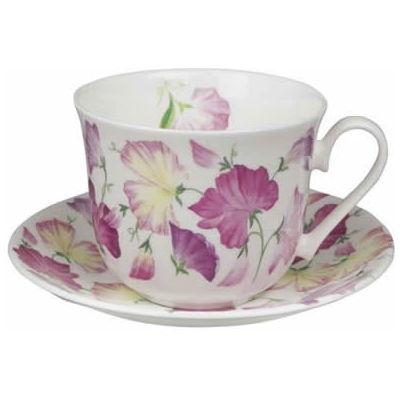 Roy Kirkham Floral Sweet Pea Pink Breakfast Cup & Saucer