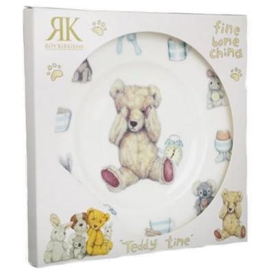 Roy Kirkham Teddy Bears Teddy Time Blue Plate 20cm Giftboxed