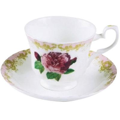 Roy Kirkham Vintage Roses Teacup & Saucer Pink