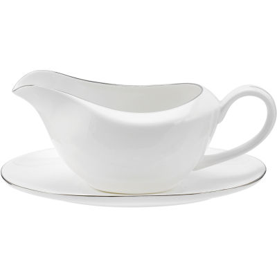 Royal Worcester Serendipity Platinum Sauce Boat & Stand