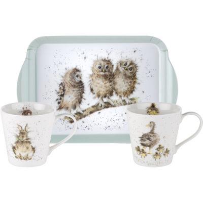 Wrendale Giftware Mug Pair & Tray Set Animals
