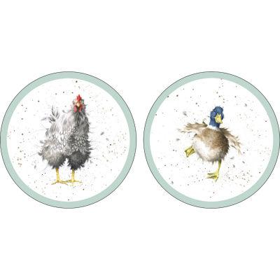 Wrendale Round Coaster Farmyard Feathers Set of 4