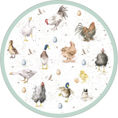 Wrendale Round Placemat Farmyard Feathers Set of 4