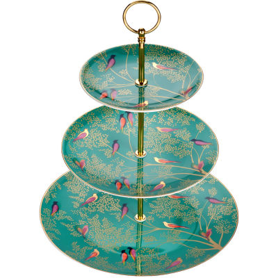 Sara Miller Chelsea Collection 3 Tier Cake Stand Chelsea Green