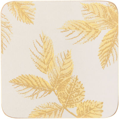 Sara Miller Placemats & Coasters Collection Coaster Set of 6 Etched Leaves Light Grey