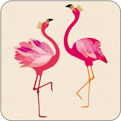 Sara Miller Flamingo Collection Coaster Set of 6 Flamingo