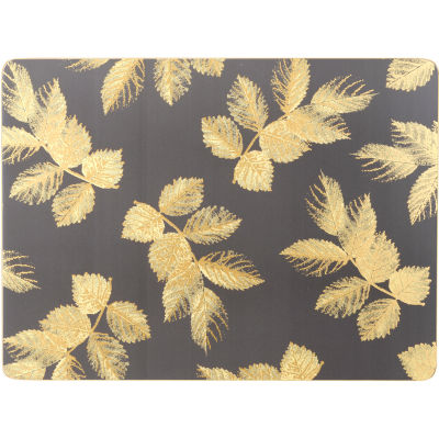 Sara Miller Placemats & Coasters Collection Placemat Set of 4 Etched Leaves Dark Grey