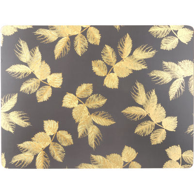 Sara Miller Placemats & Coasters Collection Placemat Set of 4 Large Etched Leaves Dark Grey