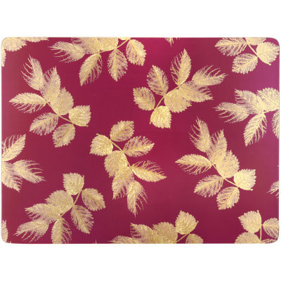Sara Miller Placemats & Coasters Collection Placemat Set of 4 Large Etched Leaves Pink