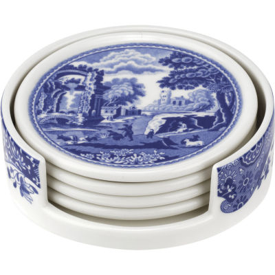 Spode Blue Italian Ceramic Coasters & Holder Set of 4