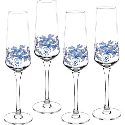 Spode Blue Italian Champagne Flute Glass Set of 4