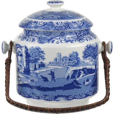 Spode Blue Italian Handled Biscuit Barrel