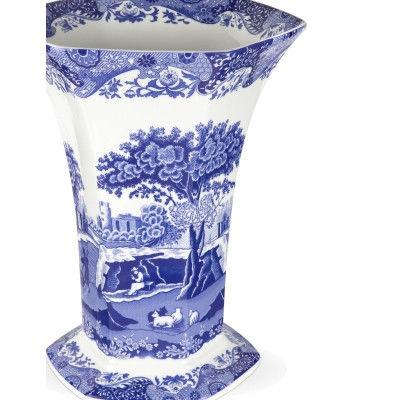 Spode Blue Italian Hexagonal Vase 27cm