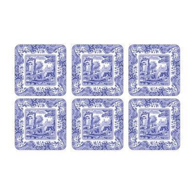 Spode Blue Italian Square Coasters 10cm Set of 6