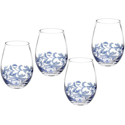 Spode Blue Italian Stemless Wine Glass Set of 4