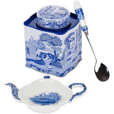 Spode Blue Italian Tea Caddy Tin Set