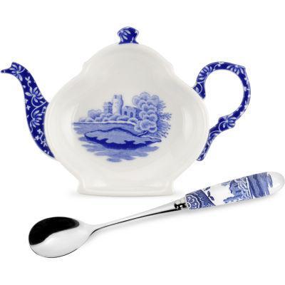 Spode Blue Italian Teabag Holder & Teaspoon Gift Set